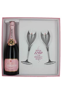 Lanson Brut Rose NV 2 Glass Gift Set