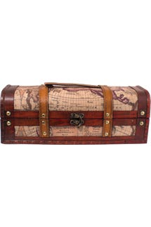 Treasure Map Wood Wine Box (Single Bottle)